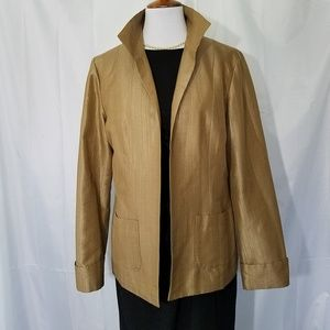 Coldwater Creek Gold Textured Open Front Jacket